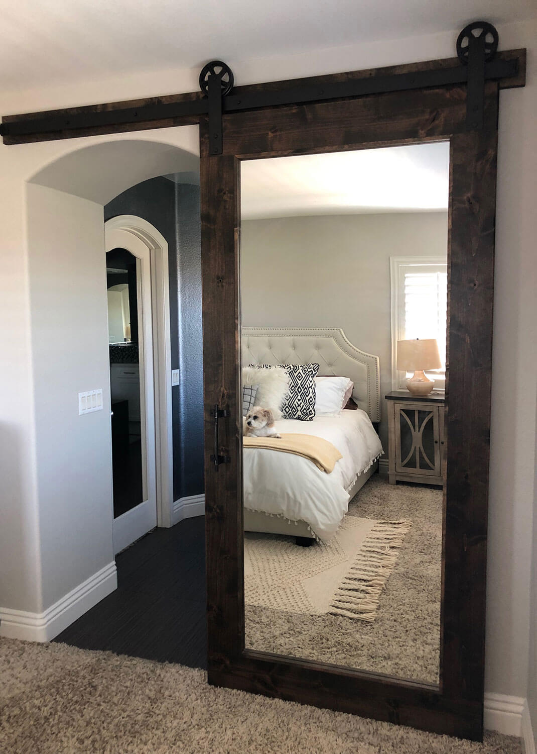 Knotty Alder Mirror Barn Door with our Traditional ...