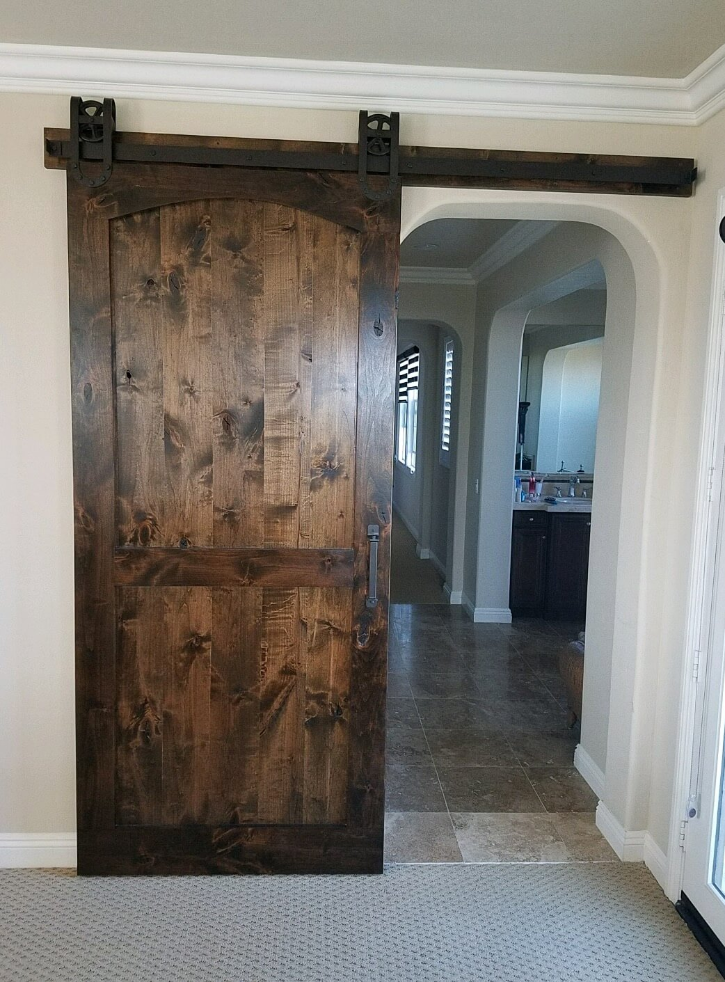 Knotty Alder Arched Brace Barn Door with our Octagon ...