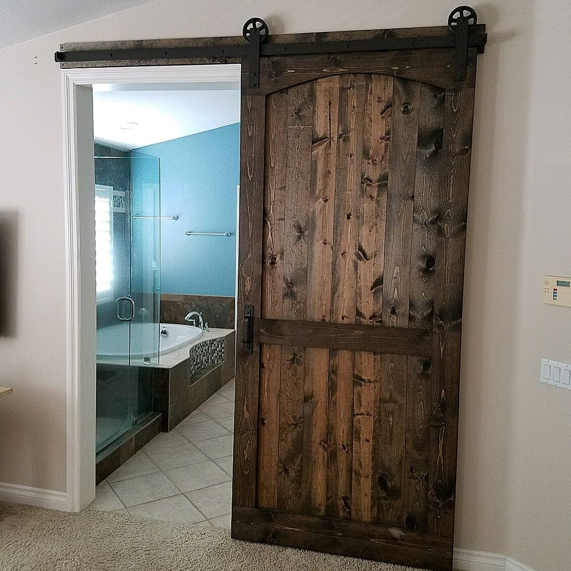 Pine Arched Brace Barn Door with our Traditional Hardware ...